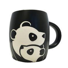Panda with Cub Etched Mug Panda Kawaii, Cute Panda, Black Coffee Mug, Coffee Mugs, Panda Lindo, Panda Decorations, Decorative Pebbles, Panda Birthday, Floral Pillows
