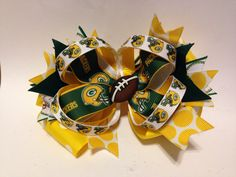 Green Bay packer hair bow by My3girlsbowsandcraft on Etsy