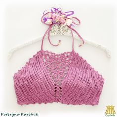 Crochet crop-top orchid color ♥   #CrochetkaBoutique #Crochetka Crochet Crop Top, Crochet Tops, Orchid Color, Orchids, Crop Tops, Women, Fashion, Cropped Tops, Moda
