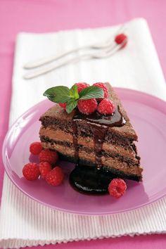 Čokoládovo-malinový dort