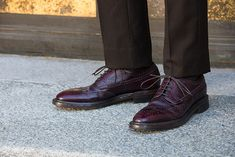 Oxblood Wingtip Silvano Sassetti Shoes with Dark Brown Suit Pants - He Spoke Style