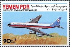 Stamp: Boeing 707 (Yemen, People's Democratic Republic) (10 Years Airline…