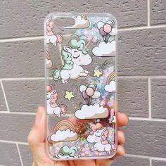 New Rainbow Unicorn Cavalo dos desenhos animados Líquido Glitter Quicksand Shell Capa para iphone 6 6 s 6 plus 6 splus 7 7 mais de 5 casos de telefone bonito