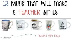teacher gift ideas, 13 ways to make a teach smile with these mugs, something for everyone. Online deals make Christmas Shopping easy
