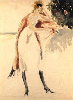 """Lorenzo Viani (Viareggio 1882–Ostia 1936), """"Donna con scialle rosso"""", 1927.  Medium: Watercolor Size: 56 x 43 cm. (22 x 16.9 in.) View past auction results for LorenzoViani on artnet"""
