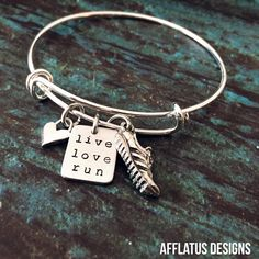 Live.Love.Run. Runners inspirational bracelet will keep you motivated mile after mile. Visit us at www.afflatusdesigns.com for more runners and fitness jewelry. Sign up for our newsletter and receive 10% off!