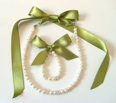 Sage green Flower girl jewelry set adjustable necklace and stretchy bracelet with swarovski balls wedding jewelry  flower girl gift on Etsy, $27.00