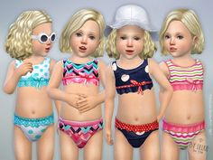 The Sims Resource: Toddler Bikini Set P01 by lillka • Sims 4 Downloads