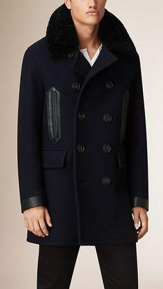 Burberry Navy Shearling Collar Wool Blend Pea Coat