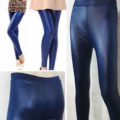Womens-Fleece-Lined-Blue-Faux-Leather-Fashion-Wet-Look-Vinyl-Legging-Slim-Pants