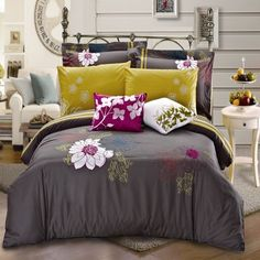 Refreshing discoveries to revamp your whole home. Look for designer furniture, window panels, sheet sets and practical accents for every room. Home, Colorful Bedroom Design, Bedroom Decor Inspiration, Bed, Duvet Cover Sets, Luxury Bedding, Bedding Sets, Luxury Duvet Covers, Dream Rooms