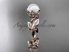 14kt rose gold diamond leaf and vine, floral pearl wedding ring, engagement ring AP20