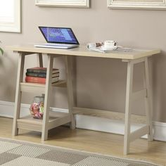 Trestle Desk in Weathered White Finish - Convenience Concepts Corner Writing Desk, Wood Writing Desk, Black Office Furniture, Retro Furniture, Furniture Ideas, Desk Ideas, Furniture Online, Trestle Desk, Computer Desk With Hutch