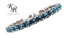 Tennis Bracelet, Blue Bracelet, Something Blue, Aquamarine Bracelet, Aquamarine Jewelry, Crystal Bracelet, Wedding Jewelry, Bridal Jewelry | KyKy's Bridal, Handmade Bridal Jewelry, Wedding Jewelry
