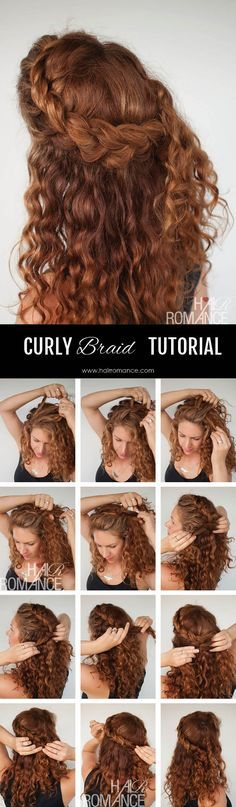 Curly hair tutorial – the half-up braid hairstyle Hair Romance – Curly hair tutorial – half up braid hairstyle tutorial Tutorial para peinados en cabello crespo Curly Braids, Curly Hair Tips, Wavy Hair, Curly Hair Styles, Natural Hair Styles, Curls Hair, Natural Braids, Braid Hair, Braids Easy