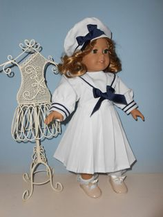 18 Inch American Girl Doll outfit Shite Sailor by ProjectFunway, $16.99