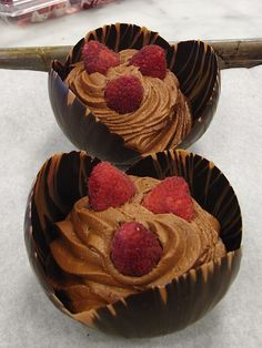 Chocolate Mousse in Chocolate Bowl by Jacques Torres (This is just a picture to get recipe go to:  http://today.msnbc.msn.com/id/46371780/ns/today-food/)