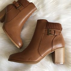 •Ankle Booties• Cognac ankle booties/vegan leather upper/side zipper closure/knitted top shaft at ankle/buckle accent on side/round toe/wooden heel/new in box/thanks for looking                                                    ❌No Trades❌ Wild Diva Shoes Ankle Boots & Booties