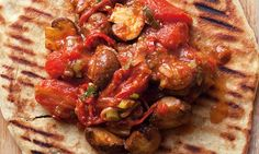 nigel slater - spiced mushrooms naan. super quick weeknight recipe with additions for those with more time