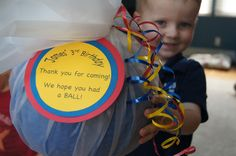 Ball party favors. My boy loves basketballs, soccer balls! Maybe a ball theme party in our future!