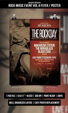 Rock Music Event Flyer / Poster Vol.4 — Photoshop PSD #festival #typography • Available here → https://graphicriver.net/item/rock-music-event-flyer-poster-vol4/10349244?ref=pxcr