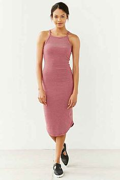 Silence + Noise High-Neck Knit Midi Dress