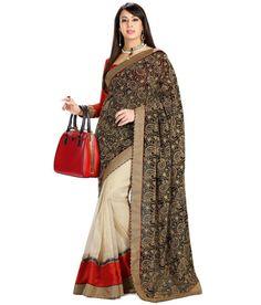 BLACK AND CREAM DESIGNER SAREE Fabric: #Brocade, #Georgette Code: SMR1023