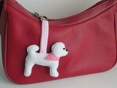 Bichon Frise felt dog bag charm by MisHelenEous on Etsy