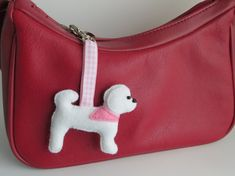 Bichon Frise felt dog bag charm by MisHelenEous on Etsy NEW for 2015. Bichon Frise bag charms. Great gifts this valentines day for dog lovers!