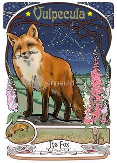 Fox and Foxgloves Constellation Vulpecula Art Nouveau Style