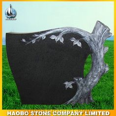 Tree carving headstone Grey granite monument