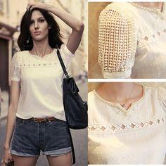 Cheap Blanco delgado del cordón de la blusa de la gasa de la camisa Mujeres corta Pantalones para las mujeres Sólidos Blusas Femininas Camisas Femininas, Compro Calidad Blusas y Camisas directamente de los surtidores de China: