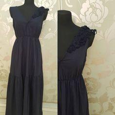 #abito #lungo #blu #cotone #valeria #abbigliamento