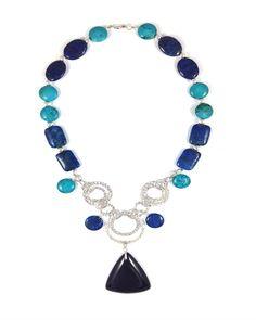 Sky Blue Lapis Lazuli and Turquoise Oversized Necklace