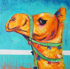 """Moroccan Camel #1"" Amira Rahim (c) Amira Rahim. Abstract whimsical camel painting, acrylics on canvas. 28x28"" $825"