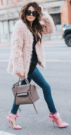 Pink fuzzy coat
