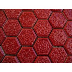 Hexagon mozaïek Hexagon rood relief mozaïek op mat