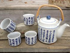 Grey and Blue Oriental Teapot with 4 Teacups by TheOwlCaller, $32.00