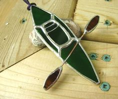 Kayak Stained Glass Suncatcher Boats Lake by GothicGlassStudio