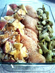 Easiest meal EVER, & not to mention DELICIOUS! 9X13 baking dish, 4 raw chicken breast in the middle, small red potatoes (cubed) on one side, and green beans (drained) on the other side. Sprinkle 1 packet of Zesty Italian seasoning over everything, & 1 packet of Lipton Onion Soup Mix over everything. Drizzle 1/2 cup butter over entire dish, cover with tin foil bake in oven for 1 hour @ 350 degrees!