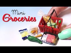 Miniature Groceries & Shopping Basket Tutorial // Dolls/Dollhouse - YouTube