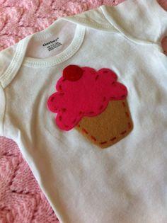 Applique Onsie Bodysuit Felt CUPCAKE Newborn by shabbyrosedesigns, $12.50