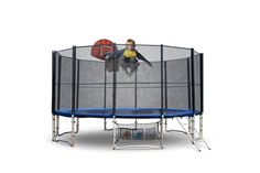 Up-Shot 12ft Round Trampoline FREE Basketball Set Safety Net Spring Pad Cover Ladder - Kogan.com 12ft Trampoline, Free Basketball, Outdoor Play Equipment, Double Lock, Galvanized Steel, Steel Frame, Ladder, Things That Bounce, Safety
