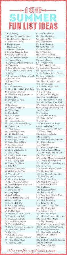160 Summer Fun List IDEAS | The Crafting Chicks | Bloglovin'