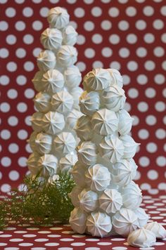 Christmas Decorating with food.  These meringue trees can be homemade or made from store bought meringues.
