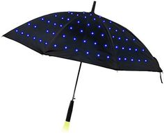 Lumadot Light Umbrella: glows with fiber optic light dots covering the canopy.  Comes in 3 modes- off, blinking and solid lights.  Light in the holder illuminates the ground in front of you.