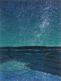 """Island Universe"", a 4-color linocut print by Vermont artist, William H. Hays."