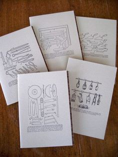 6-pack Vintage Tools letterpress notecards
