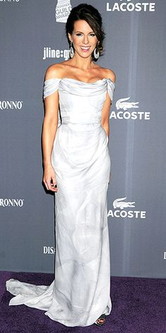 Kate Beckinsale in Vivienne Westwood and vintage Bochic earrings at the Costume Designers Guild Awards in Beverly Hills.