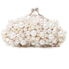 Santi Imitation Pearl Clutch (€89) ❤ liked on Polyvore featuring bags, handbags, clutches, white purse, kiss clasp purse, kiss clasp handbags, kiss lock handbags and strap purse